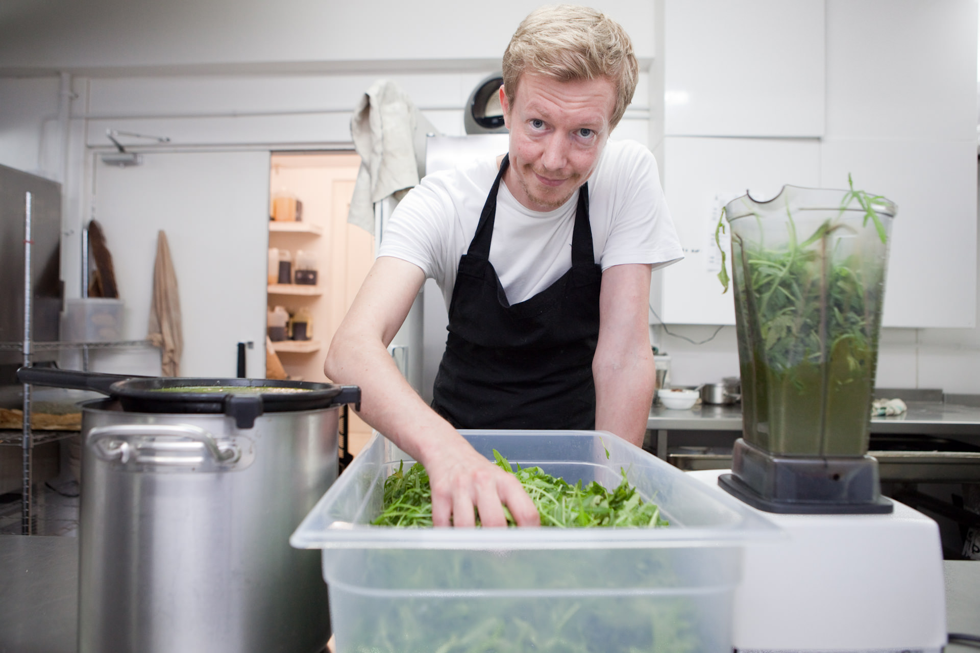 Head Chef, Kim Sheppard, makes a rocket and wild garlic soup from rocket which has been given to the cafe from a supplier of intercepted food waste. The food was intercepted by the Real Junk Food Project. Silo gives them a space to prepare food and in return any surplus which they can't handle is given to the cafe. This recently donated large supply of rocket has been utilised fully by blanching to make paste for soup also rocket dressing and emulsion.