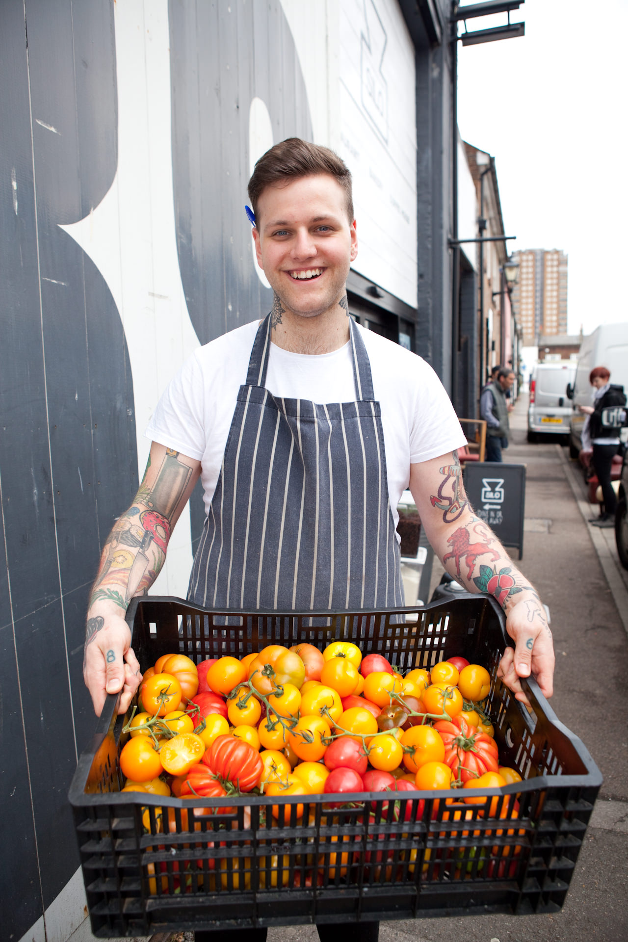 Blair Hammond with a veg delivery from Fins and Farm.