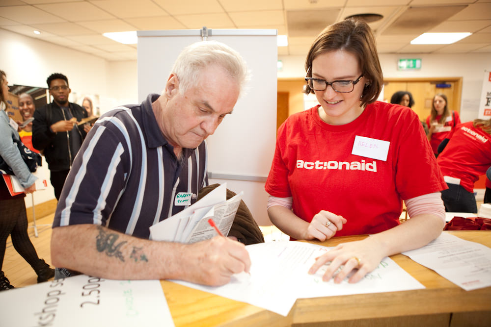 6th February 2016. Actionaid Campaigners Conference. Resource for London, 356 Holloway Road. N7 6PA. A day of solidarity and celebration with grassroots activists from developing countries. Richard Scott and Helen Thompson from AA.