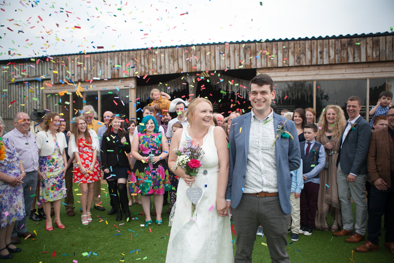 Gina & Simon, August 2016. Colourful Barn Wedding Photography at Furtho Manor Farm in Milton Keynes
