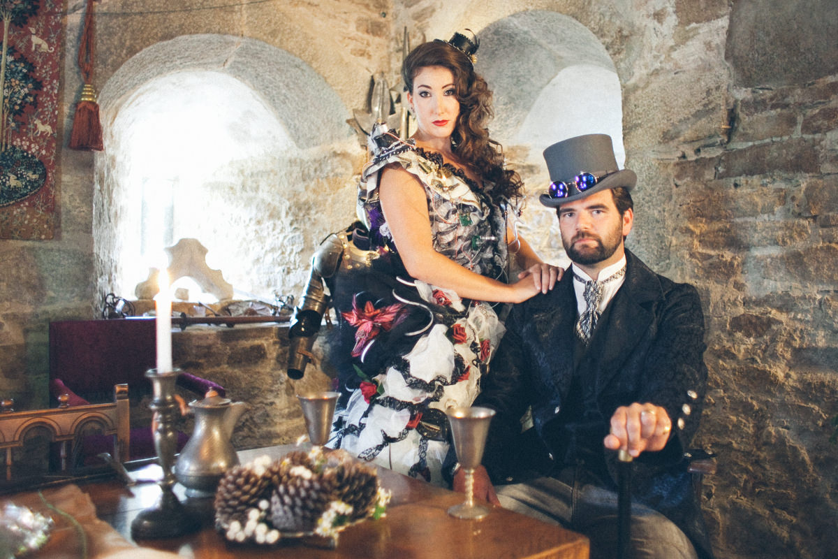 Alternative bridal shoot at Pengersick Castle, Penzance, Cornwall.