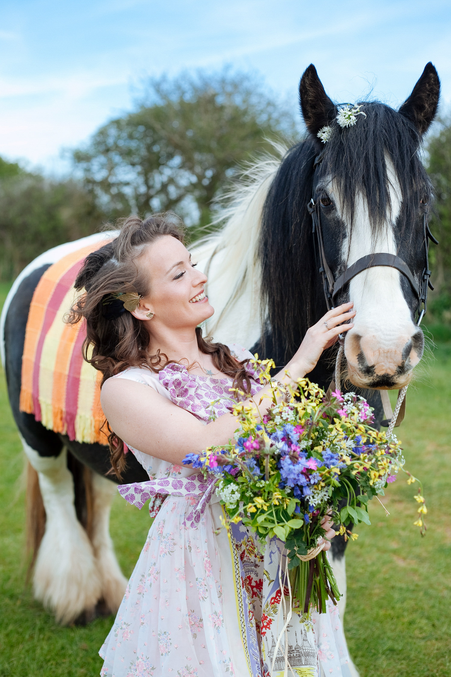 """Gypsy-inspired boho wedding shoot at Cornish Tipi Weddings. Dress by """"A Little Bird Said"""". Models Willow and Finn."""