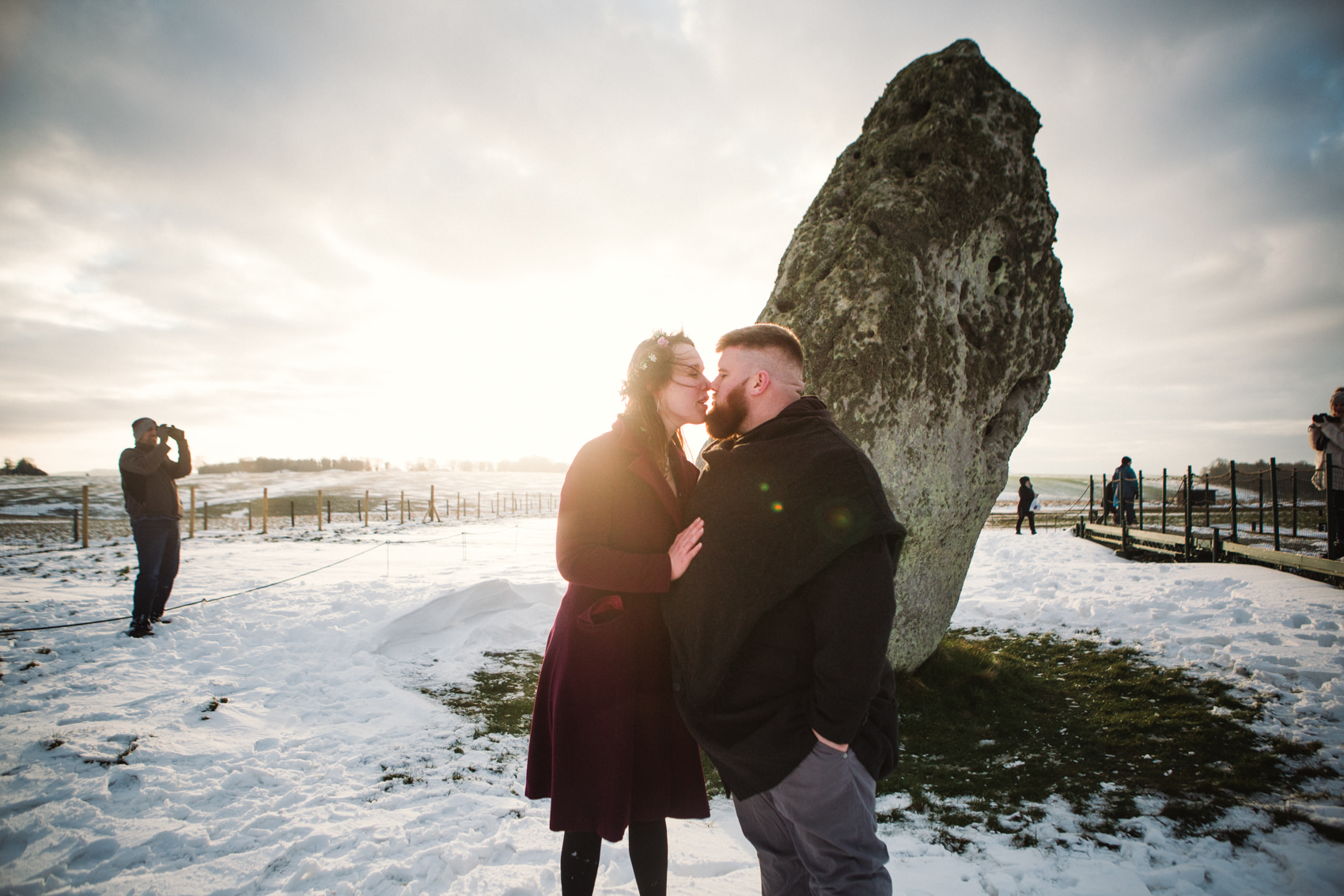 Engagement Adventures | Devon Wedding Photographer. Stonehenge, snowy Stonehenge, Stonehenge open access, Stonehenge handfasting, Stonehenge elopement, pagan wedding