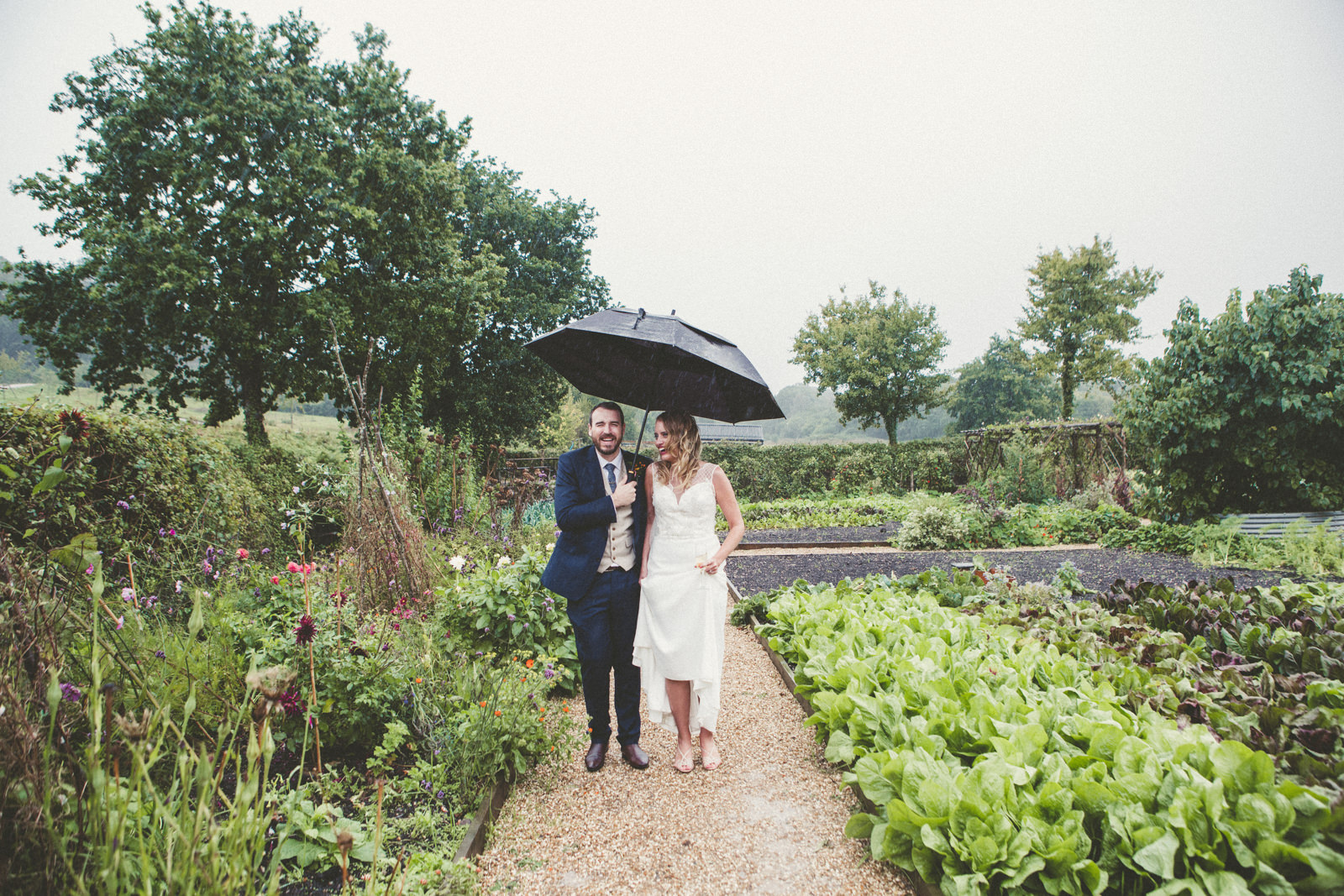 Umbrella Wedding Rain Devon Wedding Photography