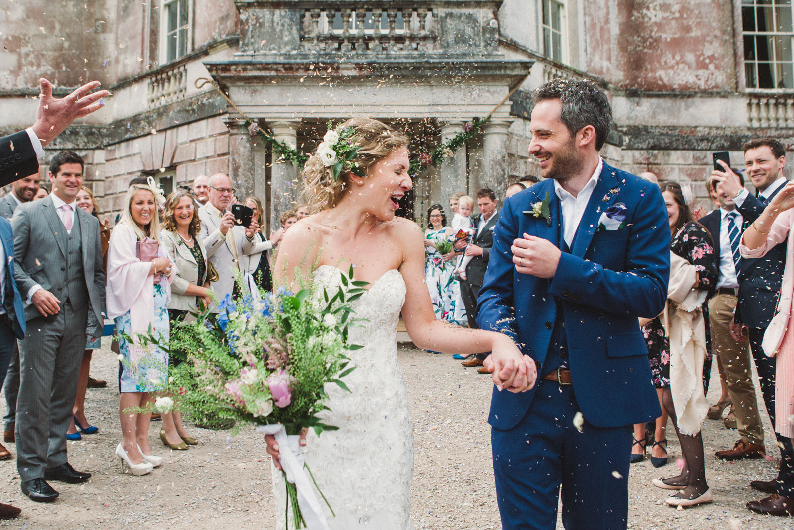 Wedding couple in confetti