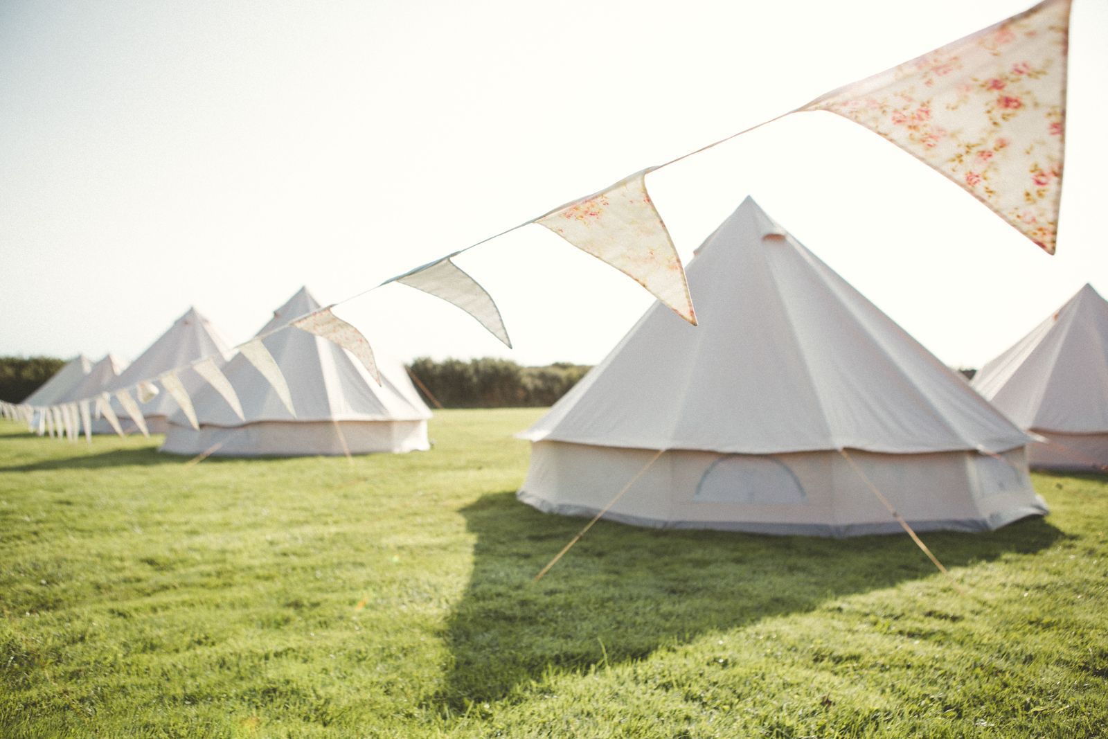 Bell tents at a wedding