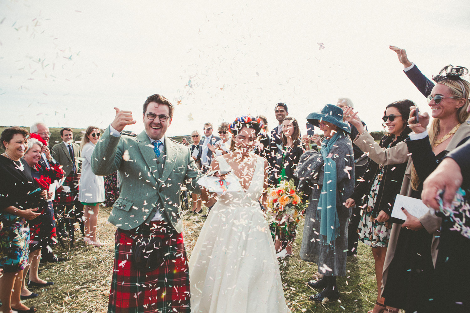 East Soar Farm Wedding Photographer, Devon wedding photographer, East Soar Farm wedding, Devon wedding, Devon wedding photography, coastal wedding, beach wedding, seaside wedding, farm wedding, country wedding, outdoor wedding ceremony, barn wedding, Mexican wedding, Mexican Day of the Dead wedding, Mexican Day of the Dead, colourful flowers, September wedding, autumn wedding, haybales, wedding kilt, alternative bride, alternative wedding, festival wedding