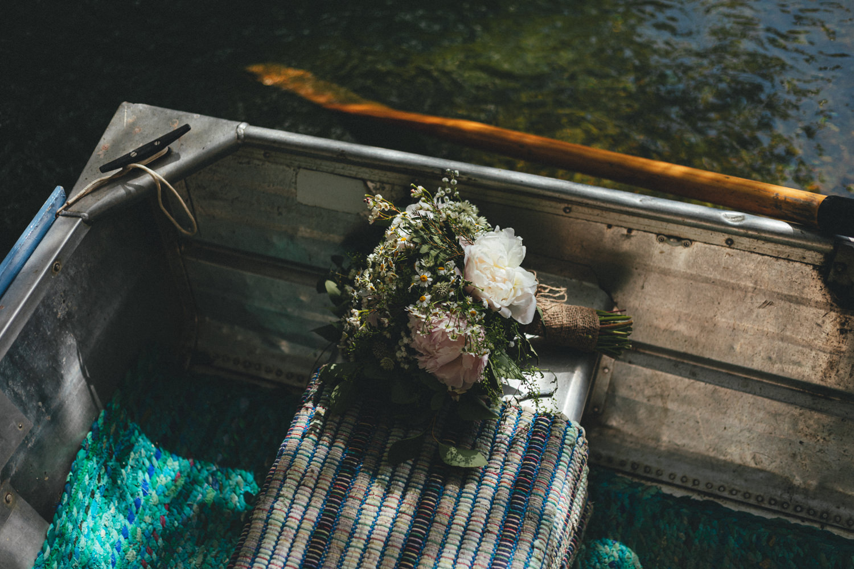 wedding bouquet on boat