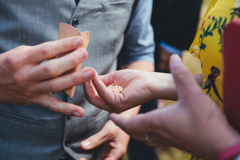 confetti, hand holding wedding confetti