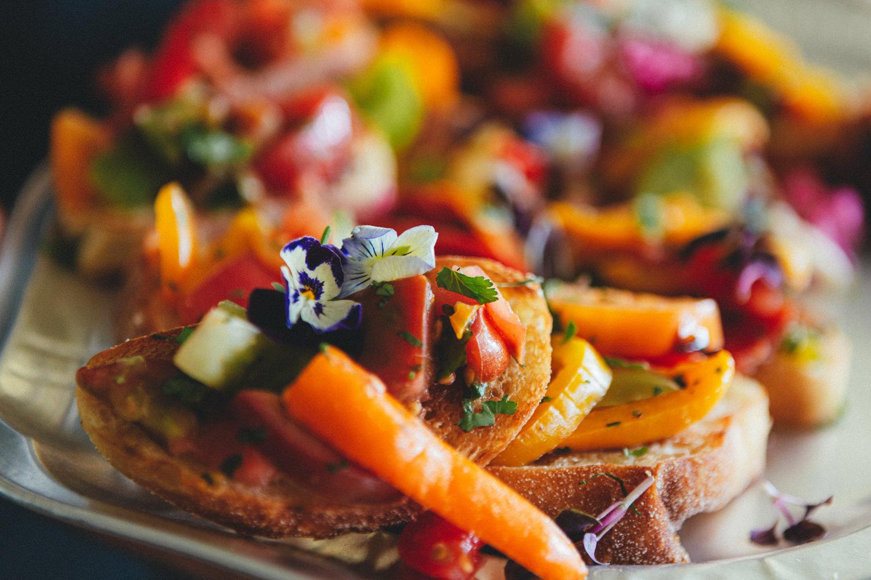 wedding bbq, colourful food