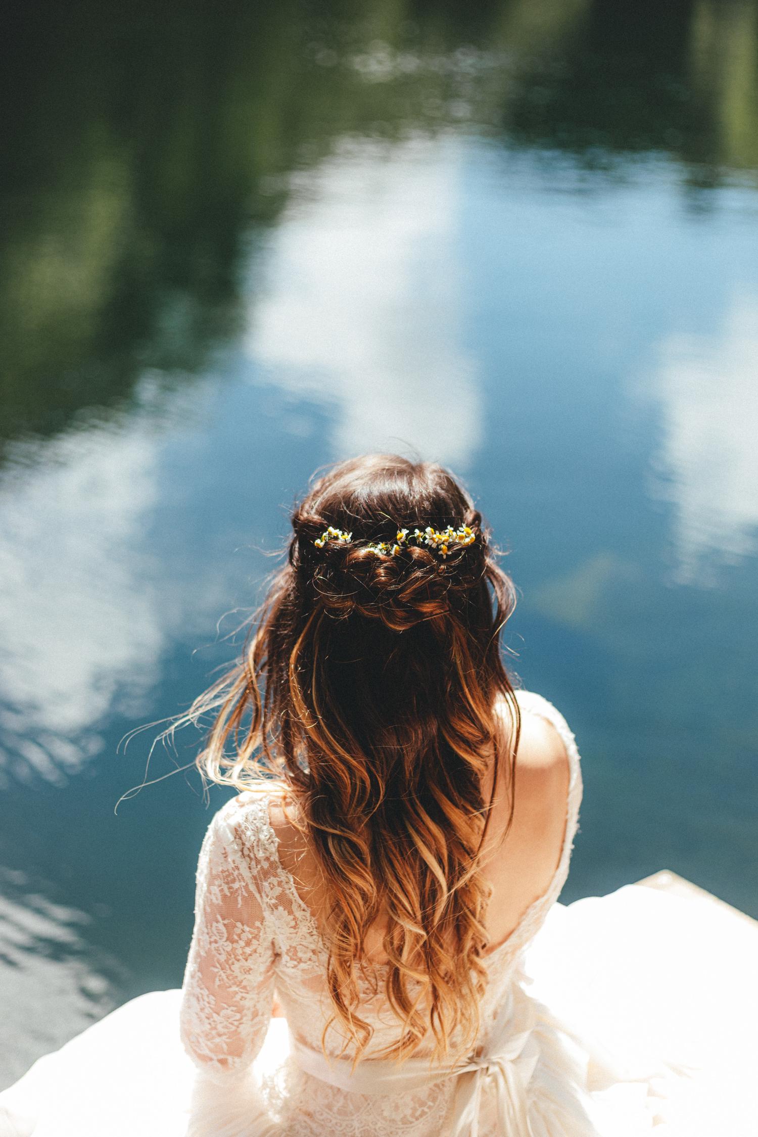 bridal hair, mermaid hair, daisies in hair, Cornish Tipi Wedding Photographer, Cornish Tipi Weddings, Wedding Photography at Cornish Tipi weddings, lakeside portraits