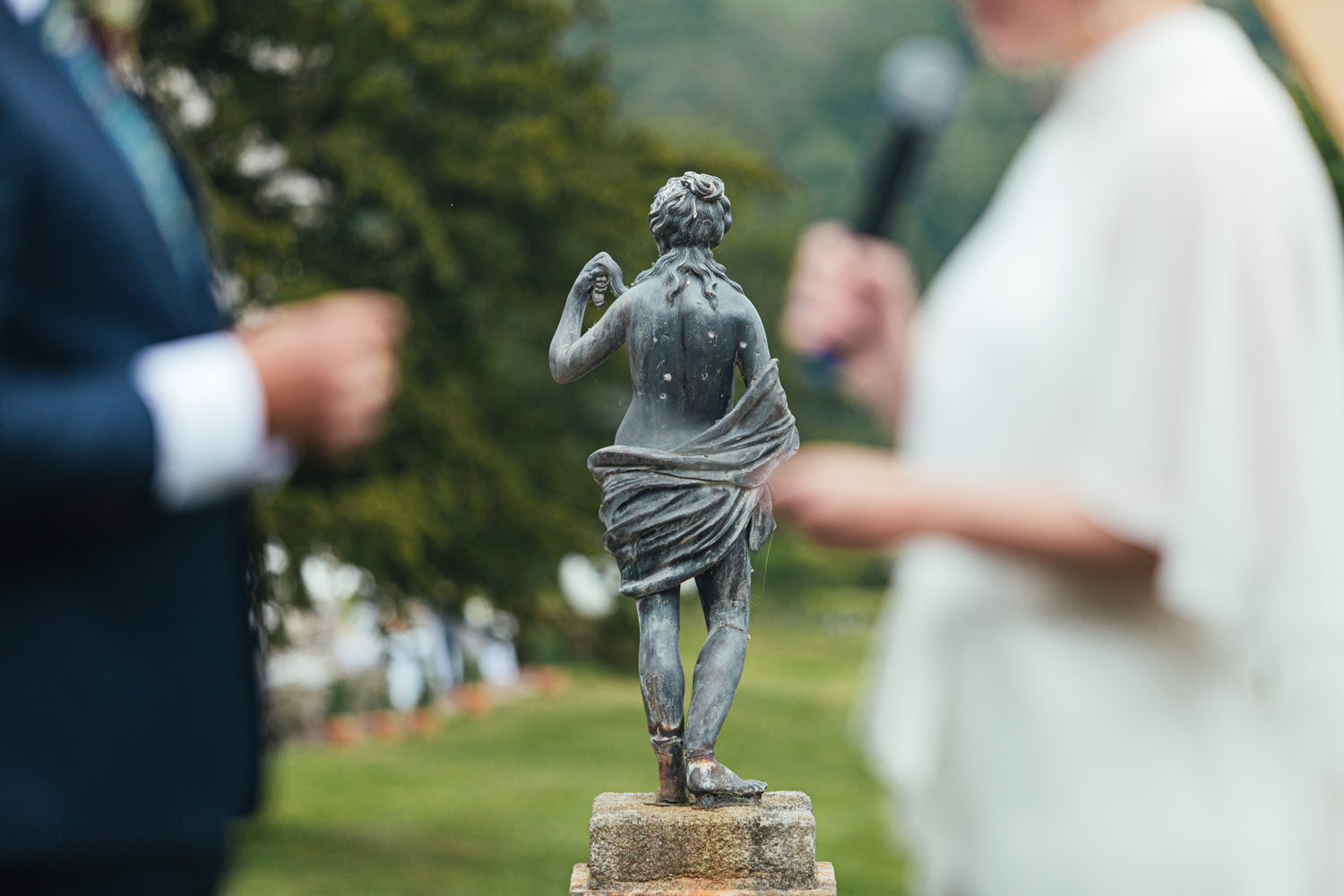 statue at sharpham house, wedding ceremony, garden wedding
