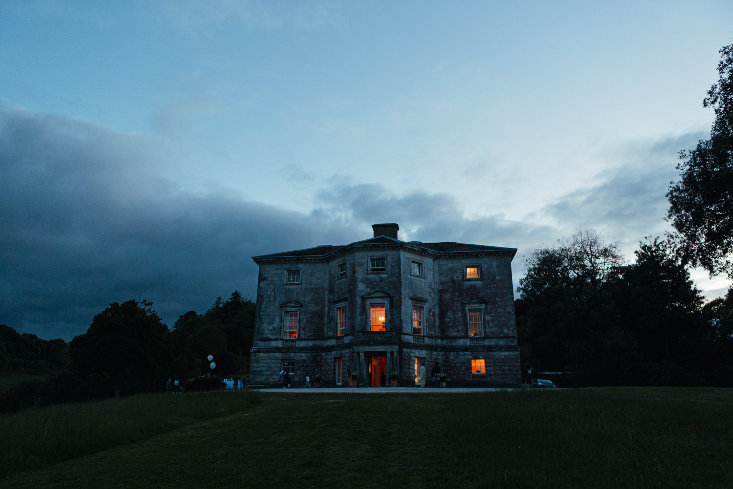 sharpham house at night