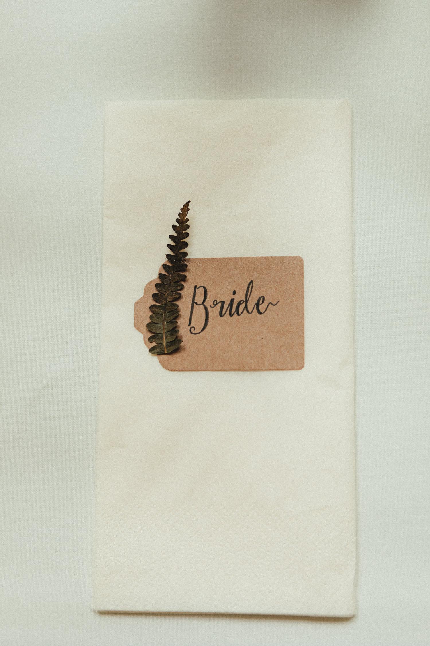 wedding decor, fern, bride napkin, table decor, Great Wood Camp Wedding Photography, woodland wedding
