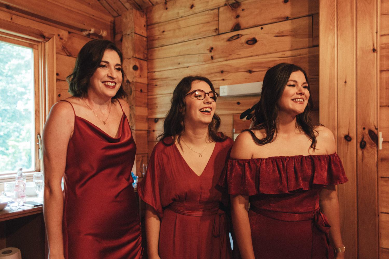 bridesmaids at Great Wood Camp, woodland wedding, Great Wood Camp Wedding photography, Quantock hills, Somerset wedding