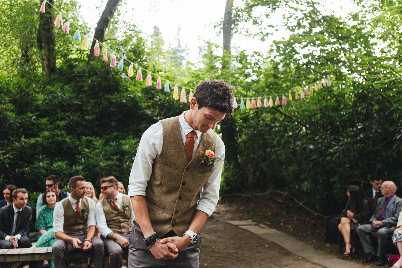woodland wedding ceremony, outdoor wedding ceremony, forest wedding, woodland wedding, Quantock Hills, Great Wood Camp Wedding, Great Wood Camp Wedding Photography, groom waiting