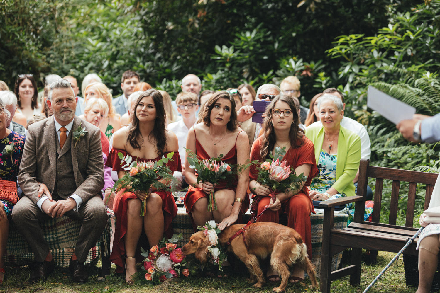 wedding guests at great wood camp, woodland wedding, woodland wedding ceremony, outdoor wedding ceremony, forest wedding, woodland wedding, Quantock Hills, Great Wood Camp Wedding, Great Wood Camp Wedding Photography