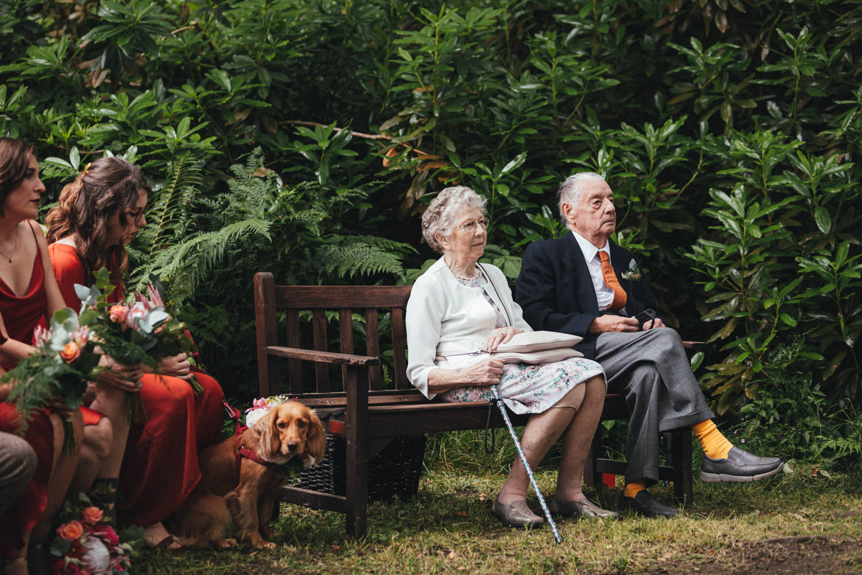 wedding guests, woodland wedding ceremony, outdoor wedding ceremony, forest wedding, woodland wedding, Quantock Hills, Great Wood Camp Wedding, Great Wood Camp Wedding Photography,