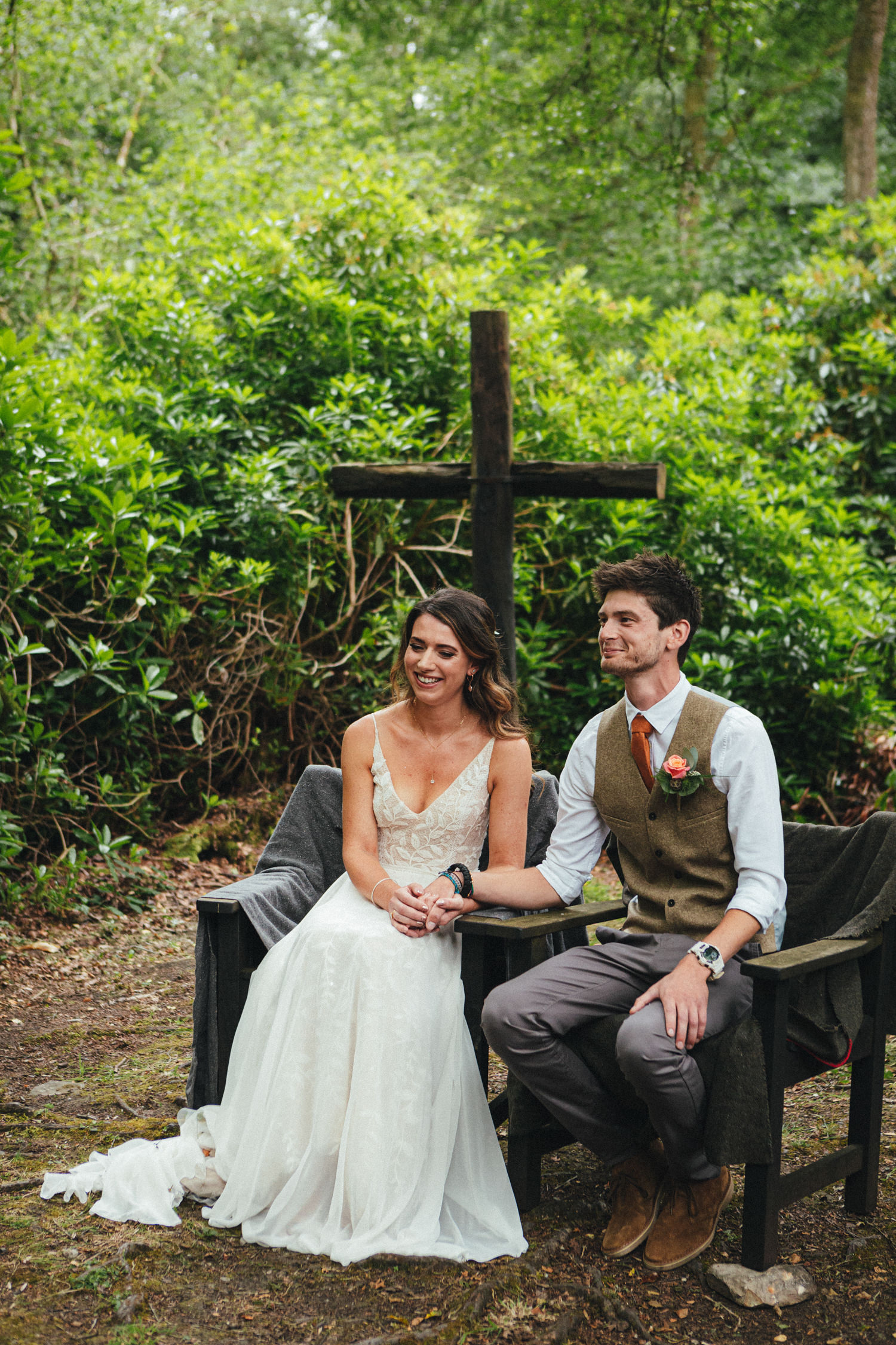 Bride and Groom, woodland wedding ceremony, outdoor wedding ceremony, forest wedding, woodland wedding, Quantock Hills, Great Wood Camp Wedding, Great Wood Camp Wedding Photography,