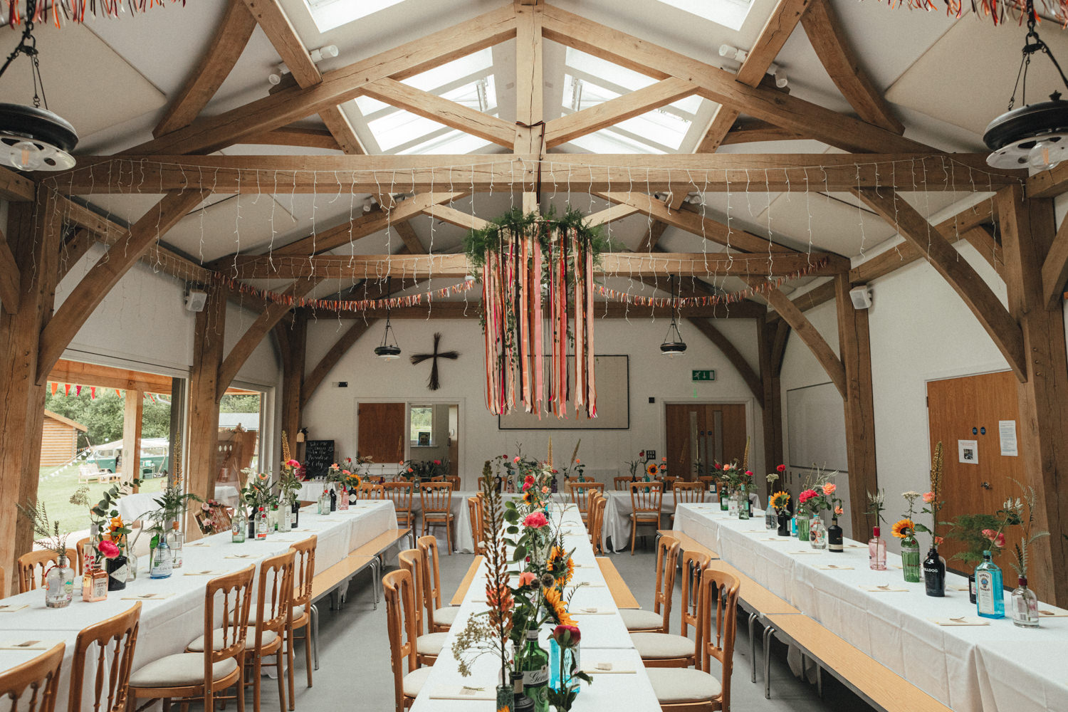 table decor, colourful flowers, colourful wedding, Great Wood Camp Wedding Photography, woodland wedding, great wood camp