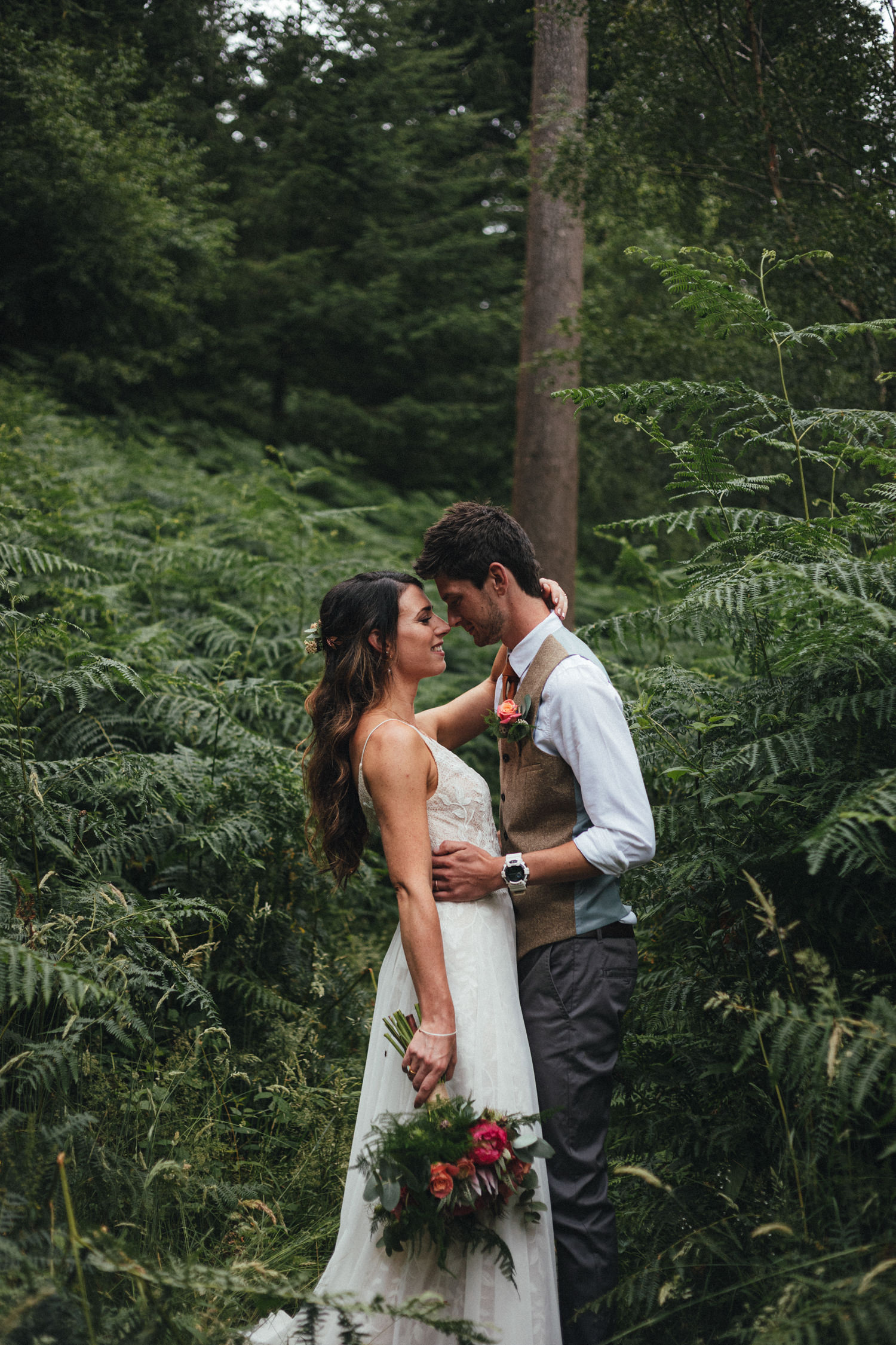 bride and groom in the woods, woodland wedding, ferns, couple, Great Wood Camp, Great Wood Camp Wedding Photography, Somerset wedding photographer