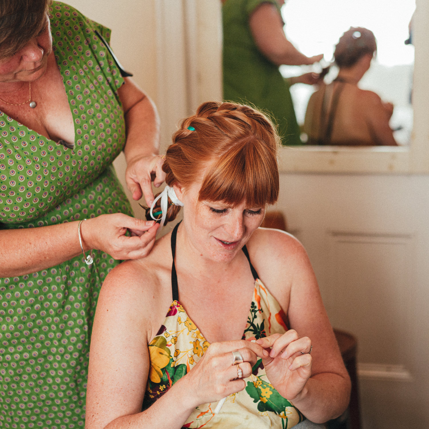 bride getting ready, hairdressing, red headed bride, Holsome Park Wedding Photography, totnes wedding