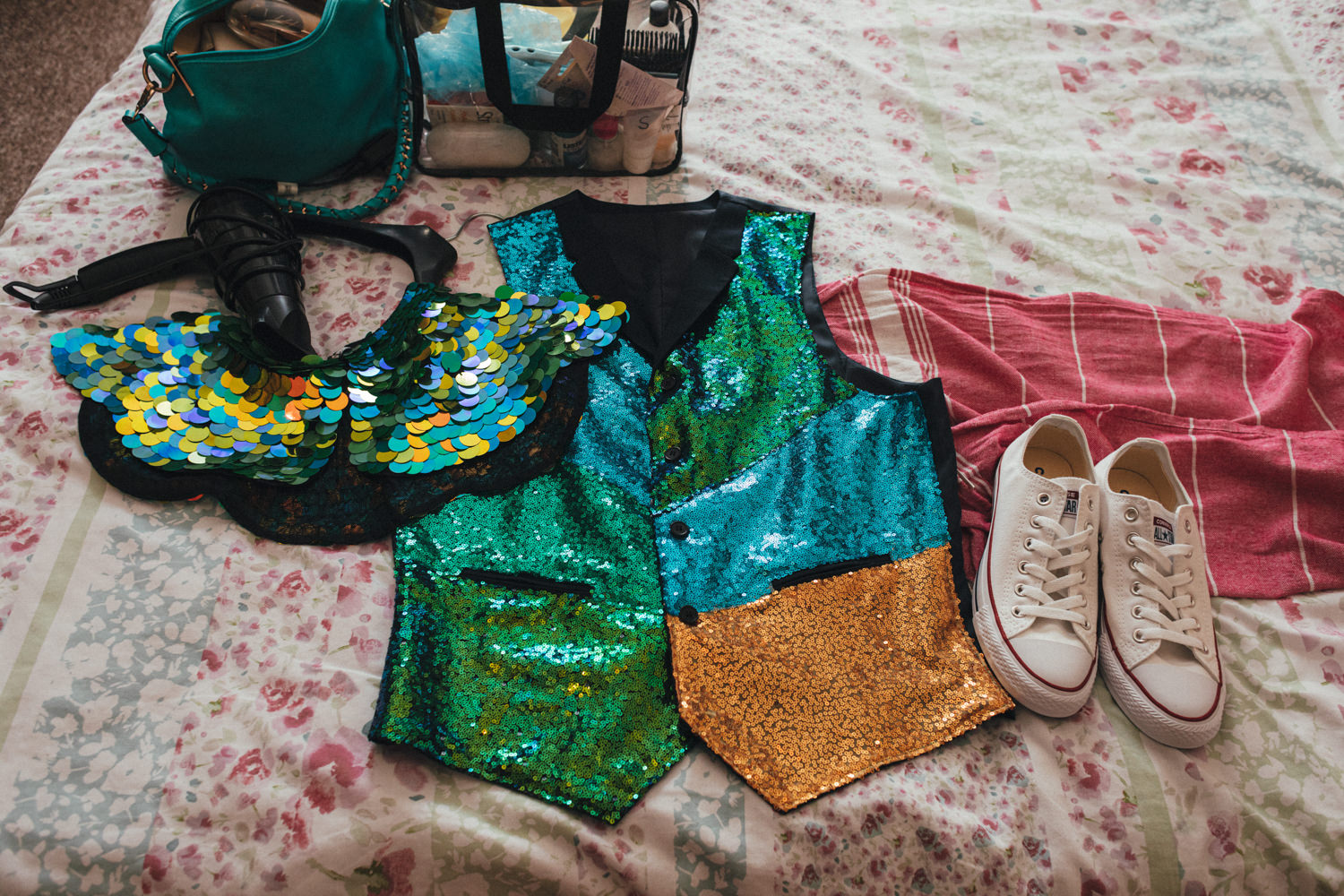 sequinned wedding jacket & converse trainers, festival style wedding