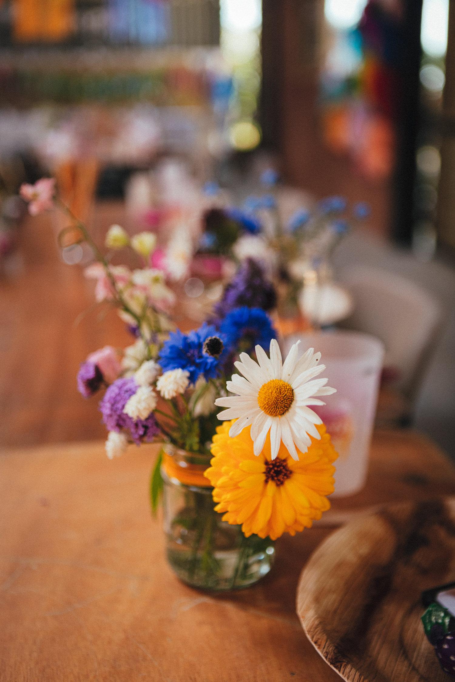 colourful flowers, bouquet, boho wedding, boho bride, hippy wedding, farm wedding, flowers, bright colours, Holsome Park Wedding Photography, totnes wedding, farm wedding, festival wedding
