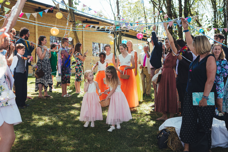 brides & bridesmaids, festival wedding, boho wedding, boho bride, colourful wedding dresses, Holsome Park Farm Wedding Photography