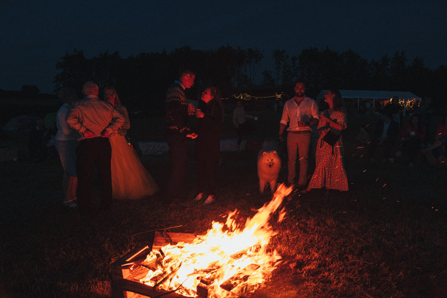 dog, guests by the fire, fireside chats, Holsome Park Wedding Photography