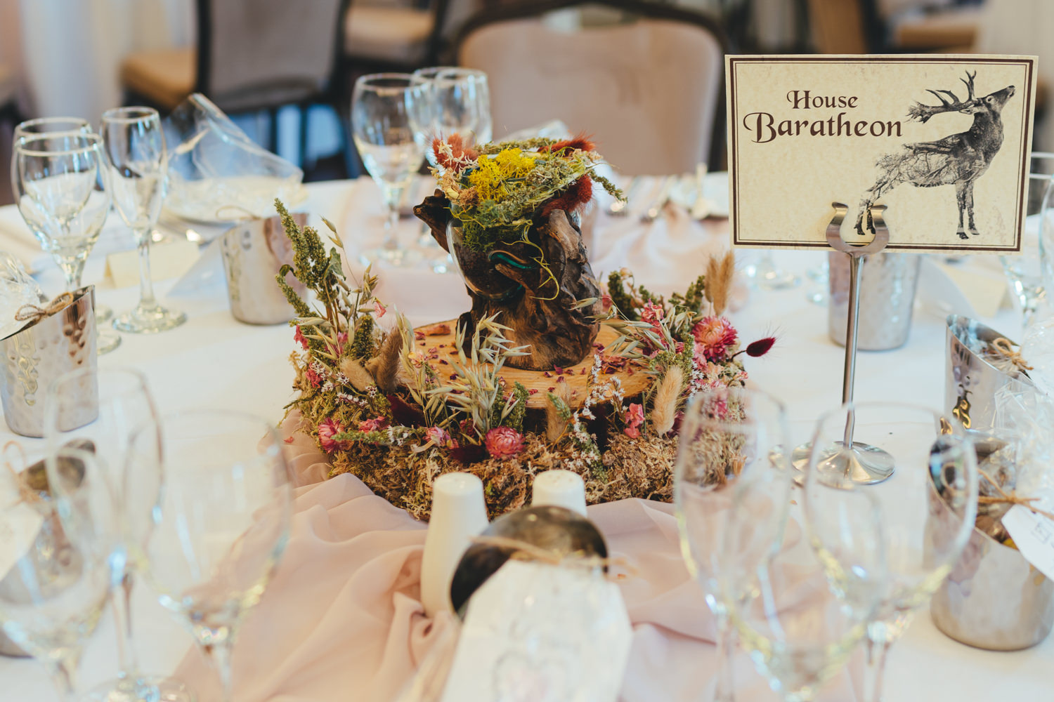 game of thrones wedding, woodland wedding, House of Baratheon table piece