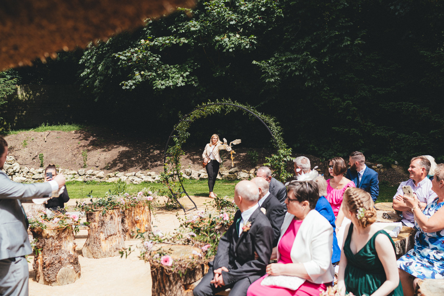 wedding owl, barn owl at wedding ceremony, owl at a wedding ceremony, Quirky Woodland Wedding Photography