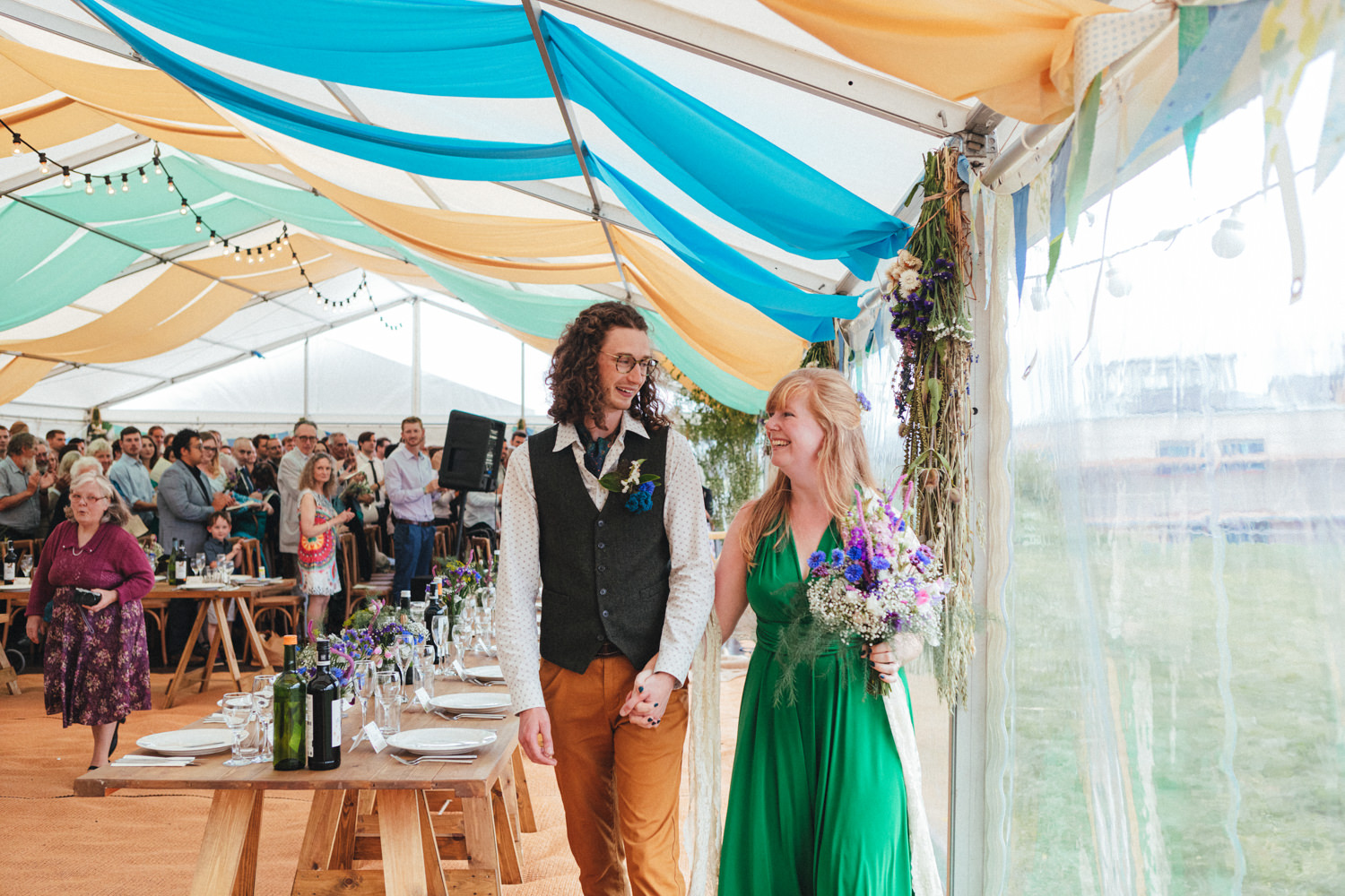 bride & groom, wedding ceremony, green wedding dress, eco wedding, outdoor wedding photography, marquee wedding, farm wedding