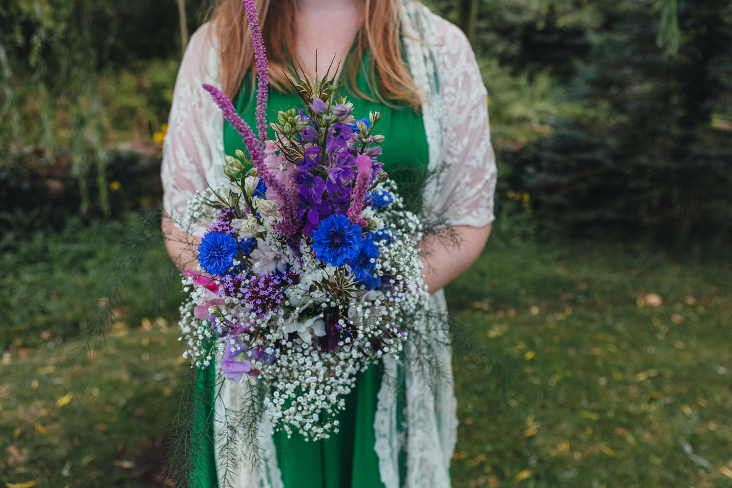 Outdoor Wedding Photography Devon, green wedding dress, eco bride, eco wedding, wildflowers, bouquet, garden